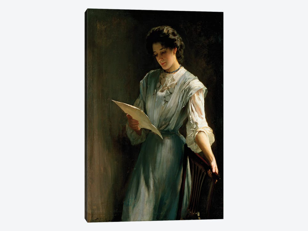 Reading the Letter  by Thomas Benjamin Kennington 1-piece Canvas Print