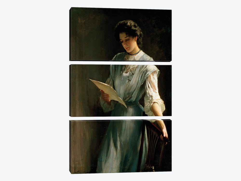 Reading the Letter  by Thomas Benjamin Kennington 3-piece Canvas Print