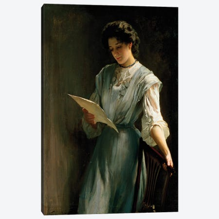 Reading the Letter  Canvas Print #BMN4707} by Thomas Benjamin Kennington Canvas Artwork