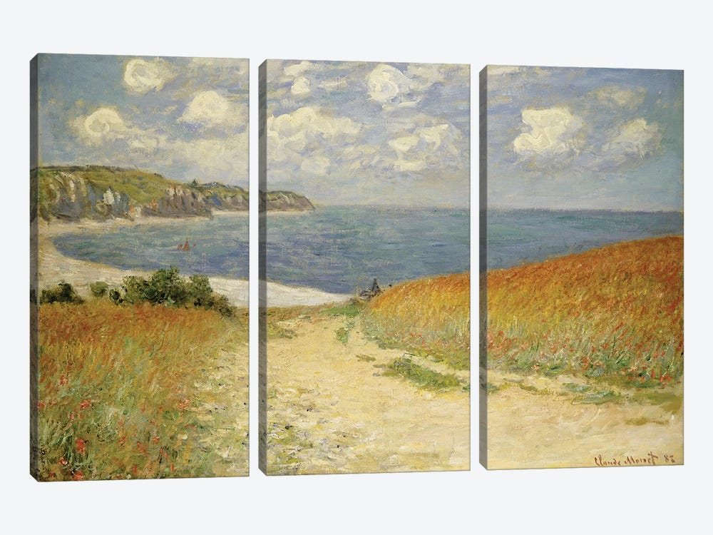 Path in the Wheat at Pourville, 1882 by Claude Monet 3-piece Art Print