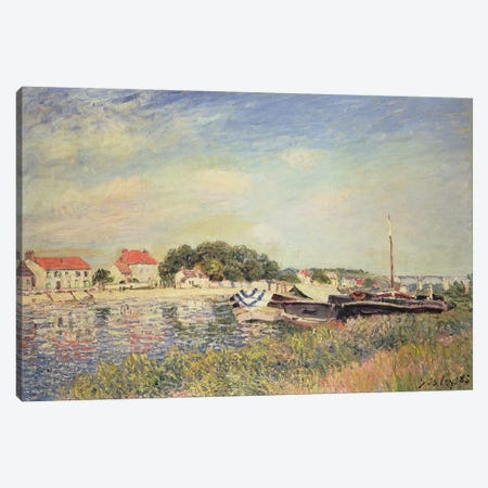 The Banks of the Loing at Saint-Mammes, 1885  Canvas Print #BMN4711} by Alfred Sisley Canvas Artwork