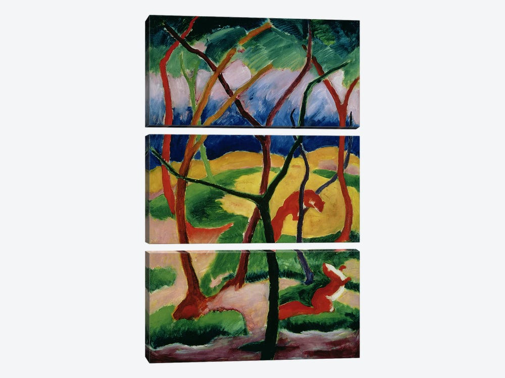 Weasels Playing, 1911 by Franz Marc 3-piece Canvas Print