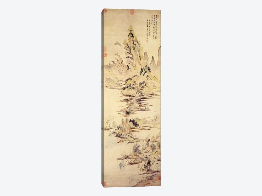 The Enjoyment of the Fisherman in the Water Village  by Yun Shouping 1-piece Canvas Print