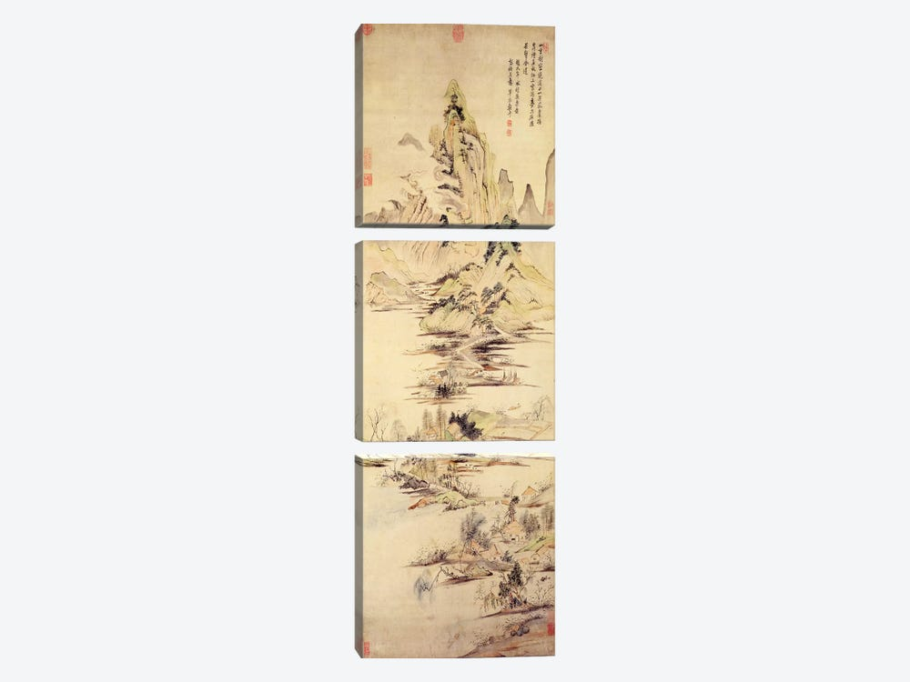 The Enjoyment of the Fisherman in the Water Village  by Yun Shouping 3-piece Canvas Art Print