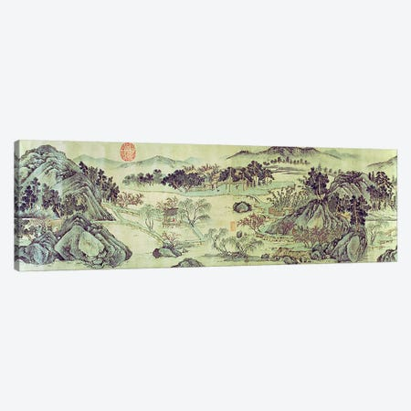 The Peach Blossom Spring from a poem entitled 'Tao Yuan Bi Jing' written by Wang Wei  Canvas Print #BMN4715} by Wen Zhengming Canvas Art Print