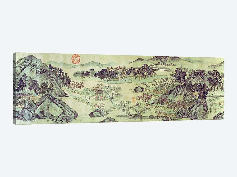 The Peach Blossom Spring from a poem entitled 'Tao Yuan Bi Jing' written by Wang Wei  by Wen Zhengming 1-piece Canvas Wall Art