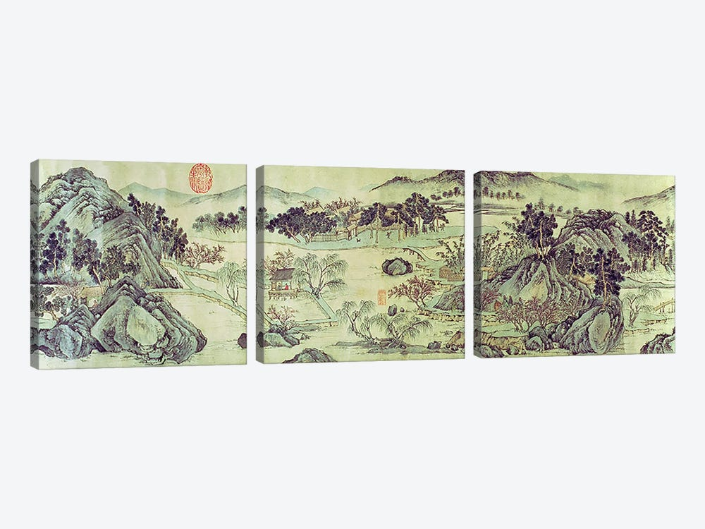 The Peach Blossom Spring from a poem entitled 'Tao Yuan Bi Jing' written by Wang Wei  by Wen Zhengming 3-piece Canvas Art
