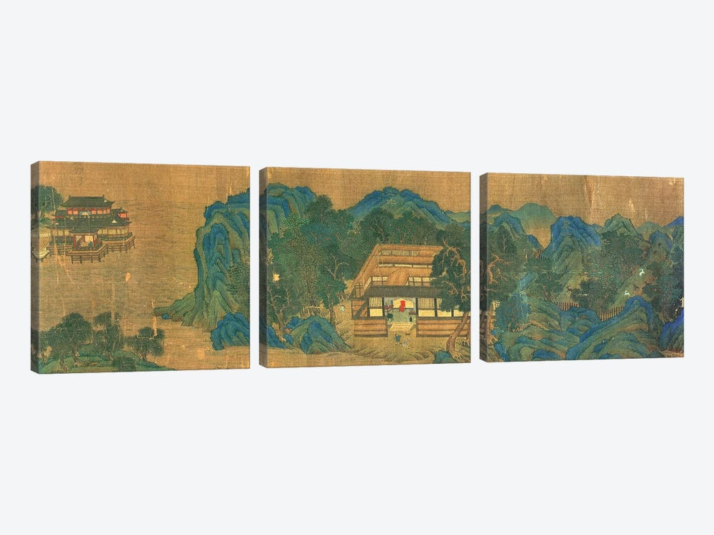 Wang Chuan's Residence, after the Painting Style and Poetry of Wang Wei  by Qiu Ying 3-piece Art Print