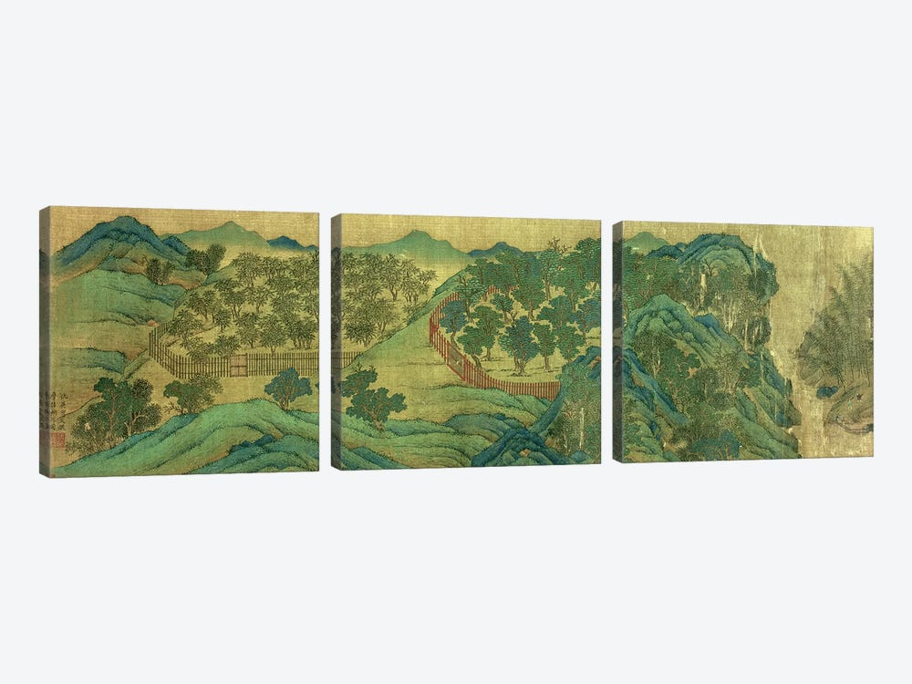 The Garden of Wang Chuan's Residence, after the Painting Style and Poetry of Wang Wei  by Qiu Ying 3-piece Canvas Wall Art