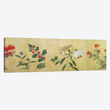A detail of flowers from a handscroll of a 'Hundred Flowers', 1562  Canvas Print #BMN4720} by Wang Guxiang Art Print