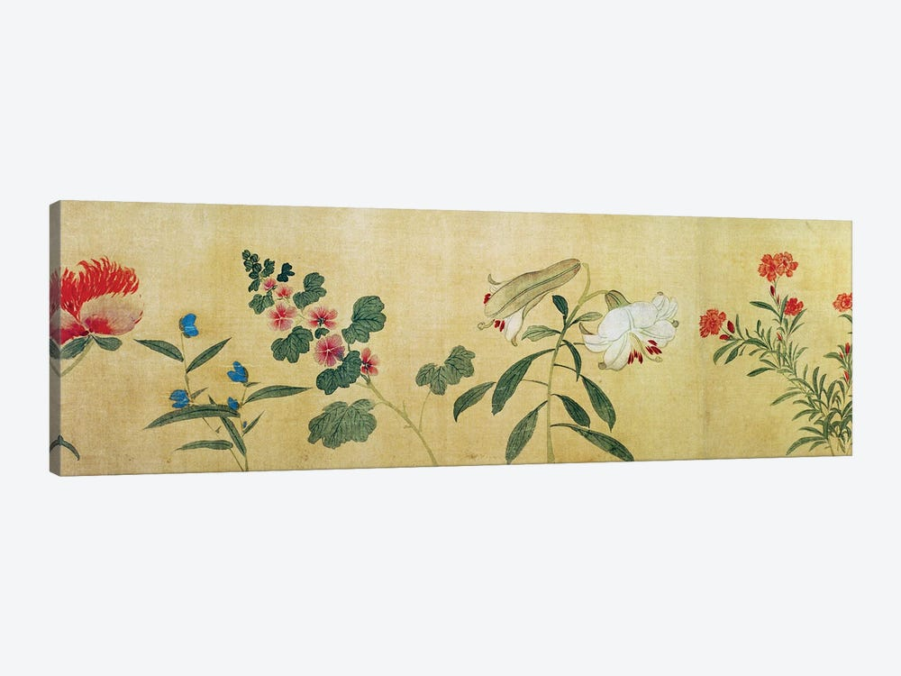 A detail of flowers from a handscroll of a 'Hundred Flowers', 1562  by Wang Guxiang 1-piece Canvas Artwork