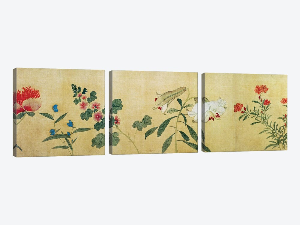 A detail of flowers from a handscroll of a 'Hundred Flowers', 1562  by Wang Guxiang 3-piece Canvas Wall Art
