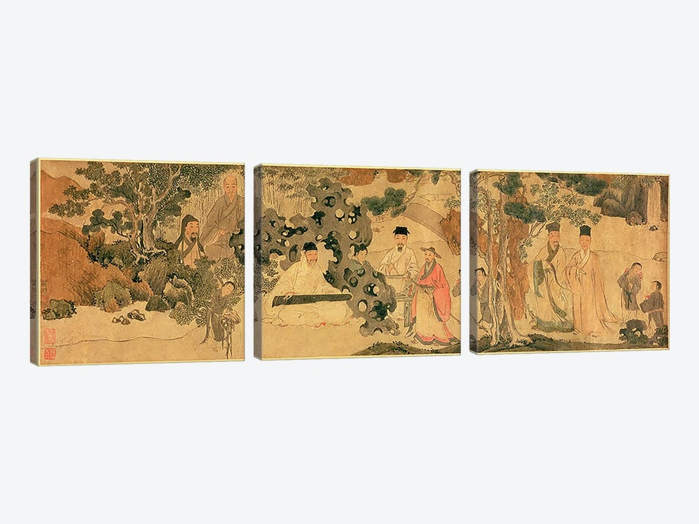 Literi Gathering in Qinglin  by Chinese School 3-piece Canvas Art