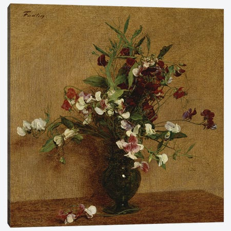 Sweet Peas in a Vase, 1888  Canvas Print #BMN4728} by Ignace Henri Jean Theodore Fantin-Latour Canvas Print