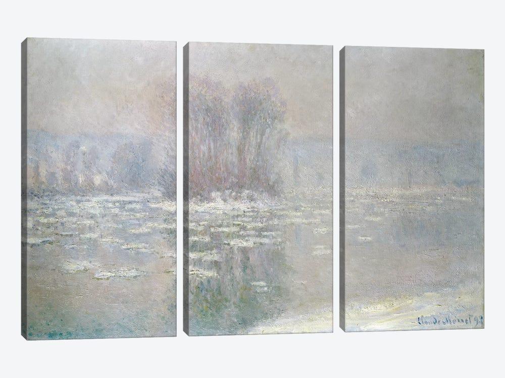 Ice at Bennecourt, 1898  by Claude Monet 3-piece Canvas Artwork