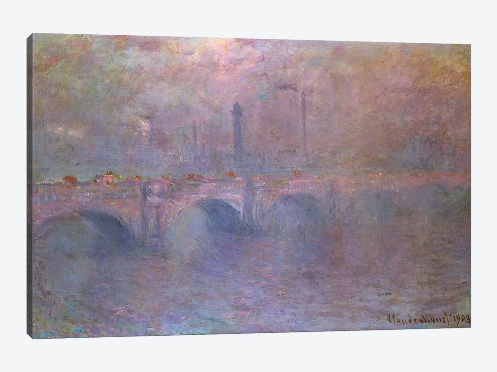 The Thames at Waterloo Bridge, 1903 by Claude Monet 1-piece Canvas Print