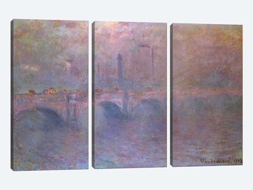 The Thames at Waterloo Bridge, 1903  by Claude Monet 3-piece Art Print