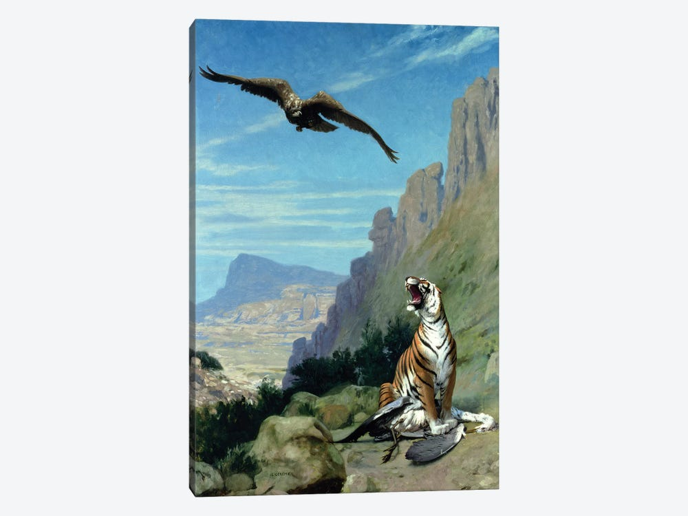 Tiger and Vulture  by Jean Leon Gerome 1-piece Canvas Art Print