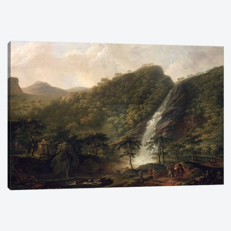 View of Powerscourt Waterfall Canvas Print #BMN4735} by George Barret Sr. Canvas Art Print