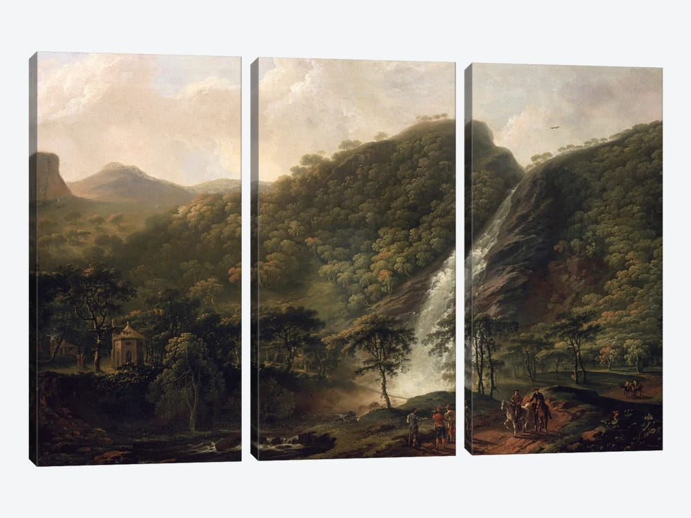 View of Powerscourt Waterfall by George Barret Sr. 3-piece Canvas Art