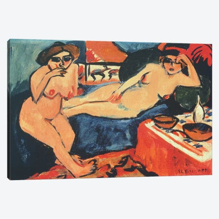 Two Nudes on a Blue Sofa, 1909/10-1920  Canvas Print #BMN4736} by Ernst Ludwig Kirchner Canvas Print