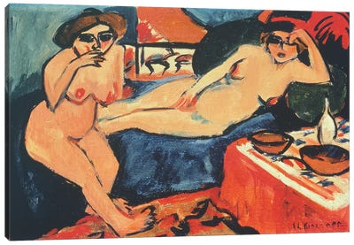 Two Nudes on a Blue Sofa, 1909/10-1920  Canvas Art Print