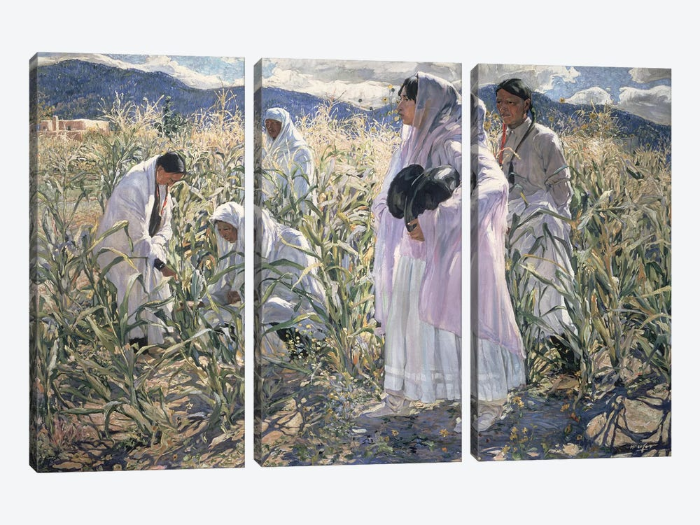 Indian corn, Taos  by Walter Ufer 3-piece Canvas Art