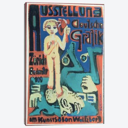 Austellung, Deutsche Grafik im Kunstsalon Wolfsberg, c.1921  Canvas Print #BMN4738} by Ernst Ludwig Kirchner Canvas Artwork