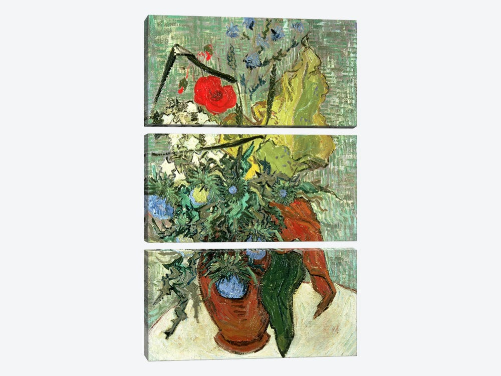 Bouquet of Wild Flowers  by Vincent van Gogh 3-piece Canvas Wall Art