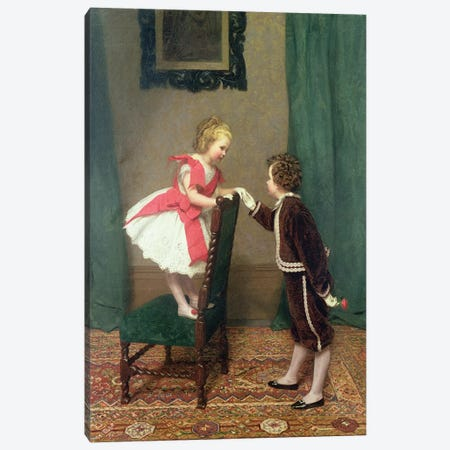 Miss Lily's First Flirtation, 1867  Canvas Print #BMN4742} by James Hayllar Canvas Print