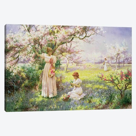Spring: Picking Flowers, 1898  Canvas Print #BMN4746} by Alfred Glendening Canvas Artwork