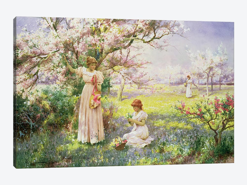 Spring: Picking Flowers, 1898 by Alfred Glendening 1-piece Canvas Art