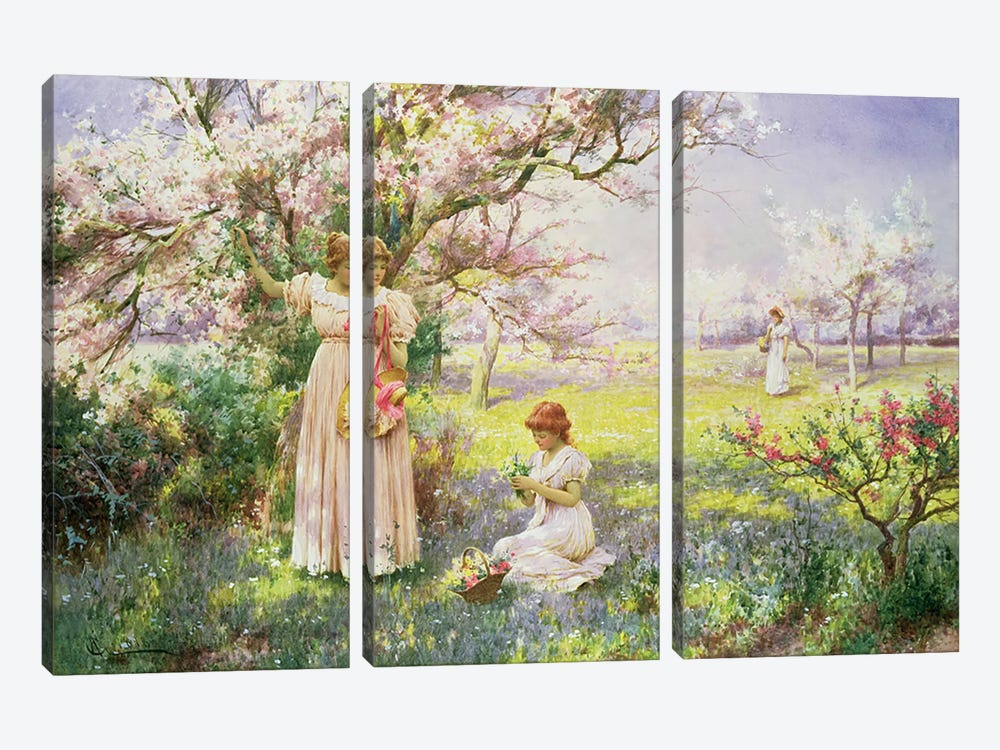 Spring: Picking Flowers, 1898  by Alfred Glendening 3-piece Canvas Art