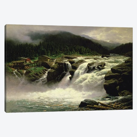 Norwegian Waterfall, at Lofor in Valders, 1905  Canvas Print #BMN4749} by Karl Paul Themistocles von Eckenbrecher Art Print