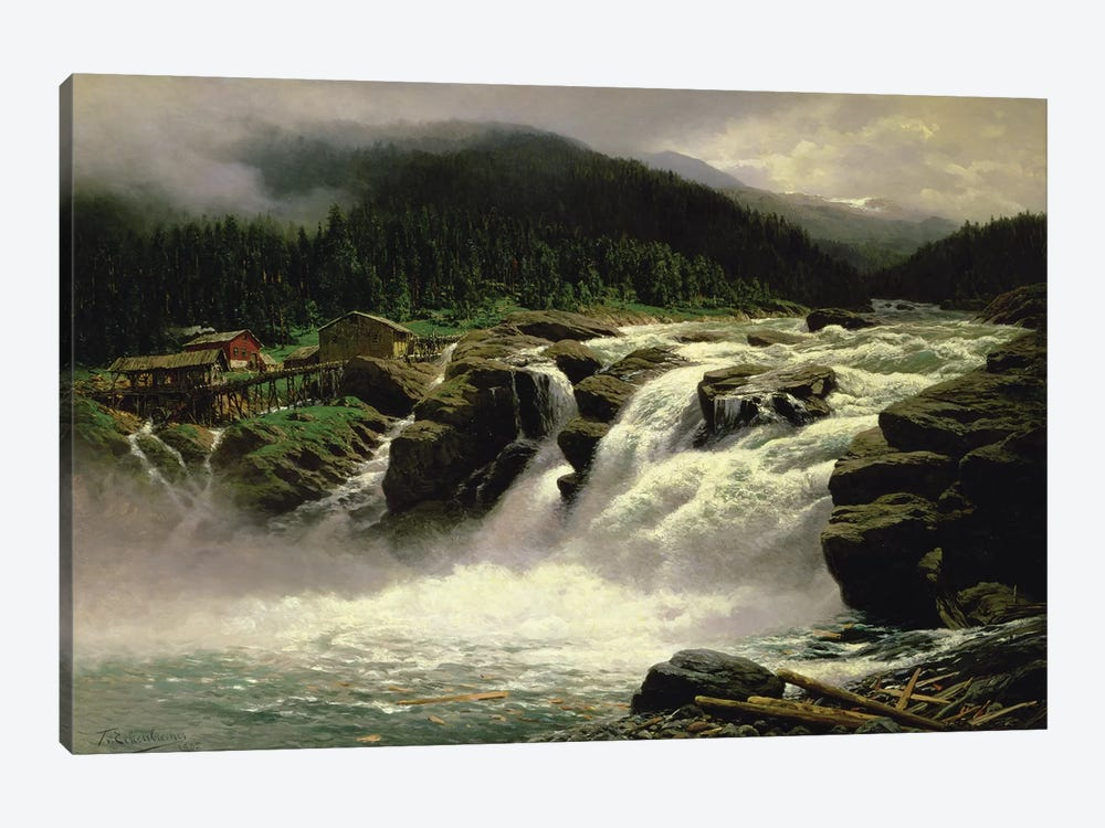 Norwegian Waterfall, at Lofor in Valders, 1905  by Karl Paul Themistocles von Eckenbrecher 1-piece Canvas Art Print