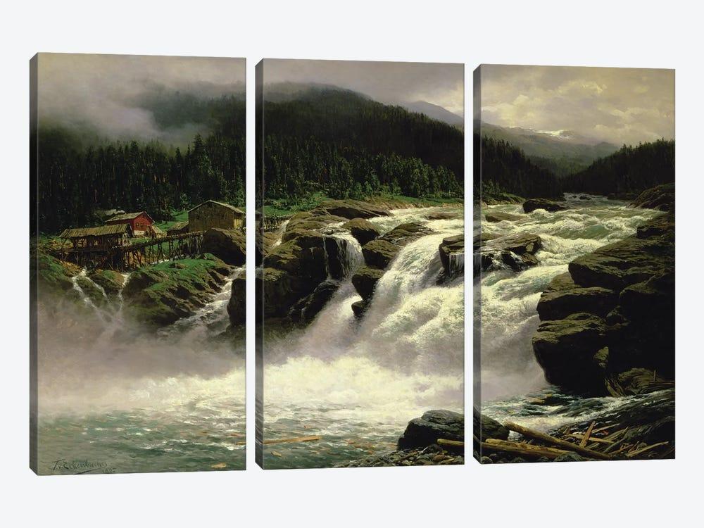 Norwegian Waterfall, at Lofor in Valders, 1905  by Karl Paul Themistocles von Eckenbrecher 3-piece Canvas Art Print