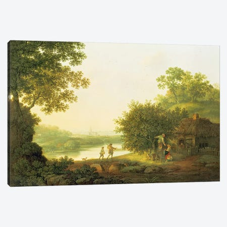 Applepickers, by a Cottage In A Wooded Landscape with Chichester Beyond  Canvas Print #BMN4752} by George Smith Canvas Wall Art