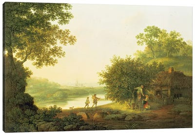 Applepickers, by a Cottage In A Wooded Landscape with Chichester Beyond  Canvas Art Print