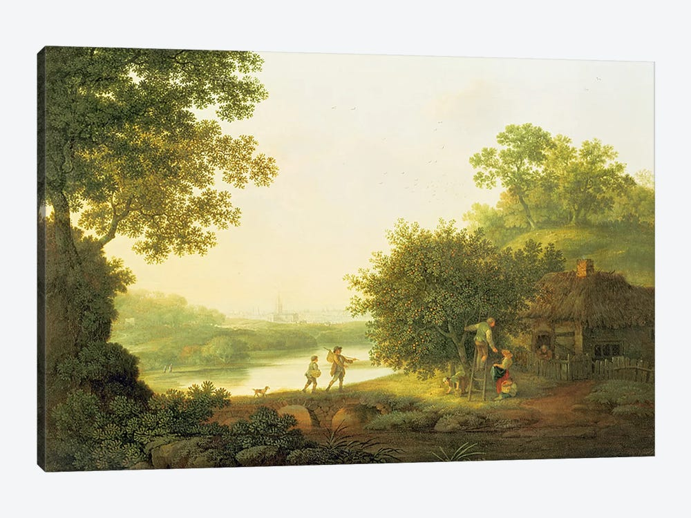 Applepickers, by a Cottage In A Wooded Landscape with Chichester Beyond  by George Smith 1-piece Canvas Art Print