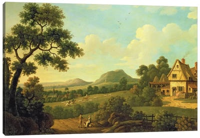 Wooded Landscape With Figures By a Roadside, c.1770  Canvas Art Print