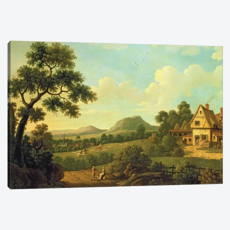 Wooded Landscape With Figures By a Roadside, c.1770  Canvas Print #BMN4753} by English School Canvas Art