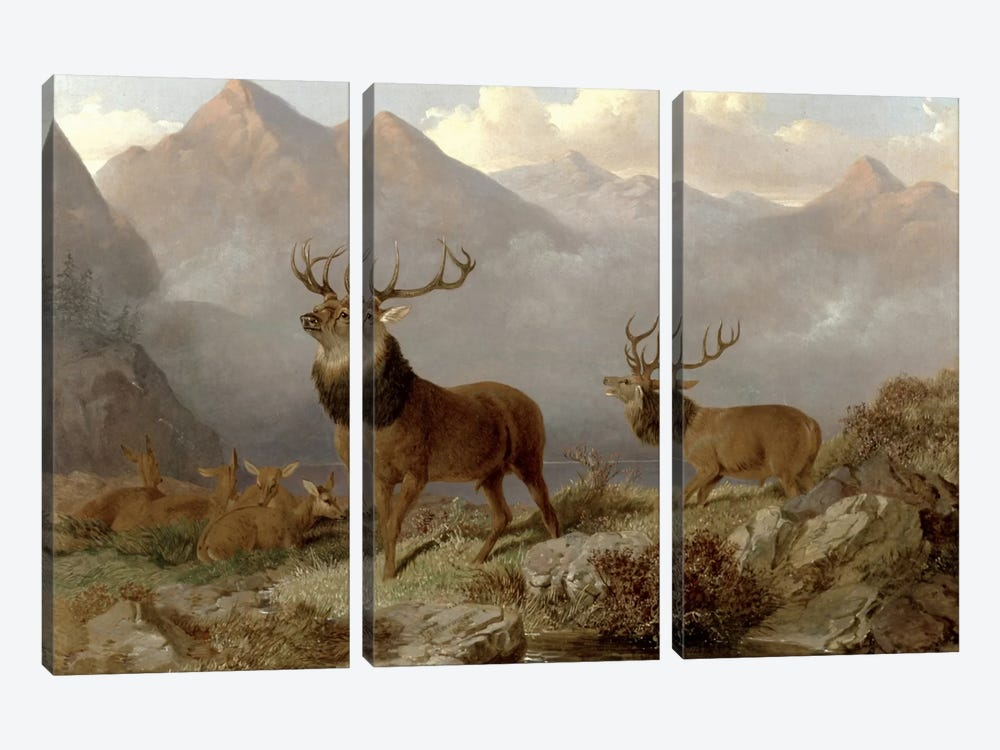 Stags And Hinds In A Highland Landscape, 1864  by John Frederick Herring Jr 3-piece Canvas Wall Art