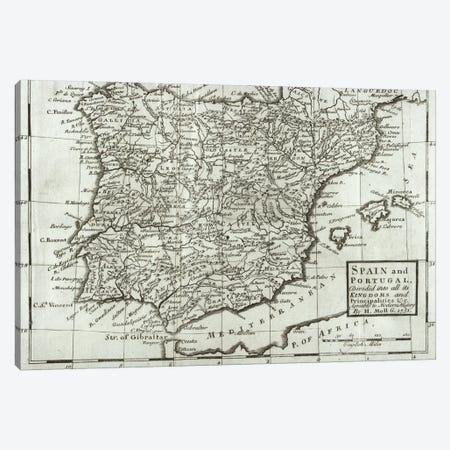 Map of Spain and Portugal, 1731  Canvas Print #BMN4759} by Hermann Moll Canvas Art