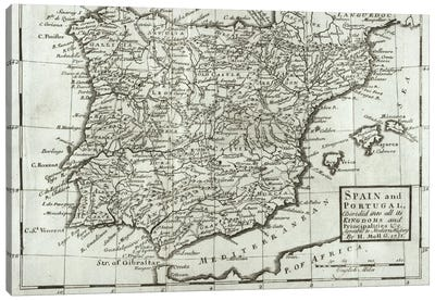 Map of Spain and Portugal, 1731 Canvas Art Print