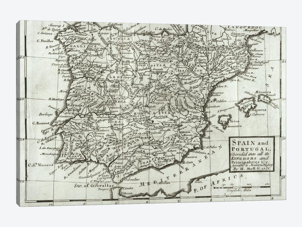 Map of Spain and Portugal, 1731  by Hermann Moll 1-piece Canvas Artwork