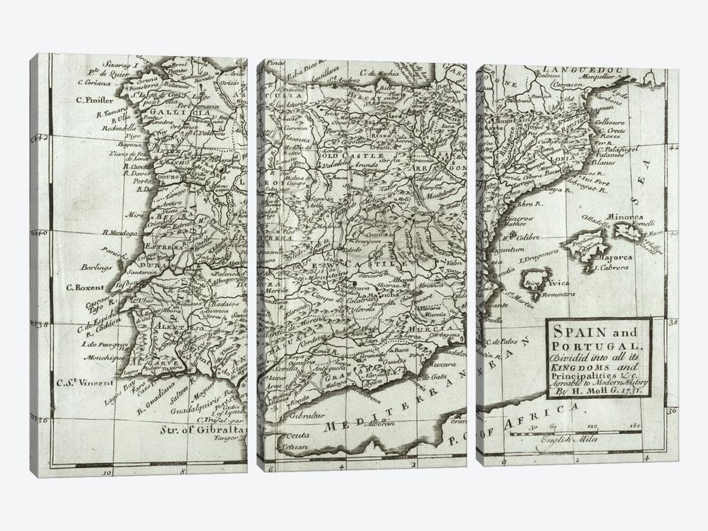 Map of Spain and Portugal, 1731  by Hermann Moll 3-piece Canvas Artwork