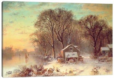 Winter in Malden, Massachusetts, 1864  Canvas Art Print