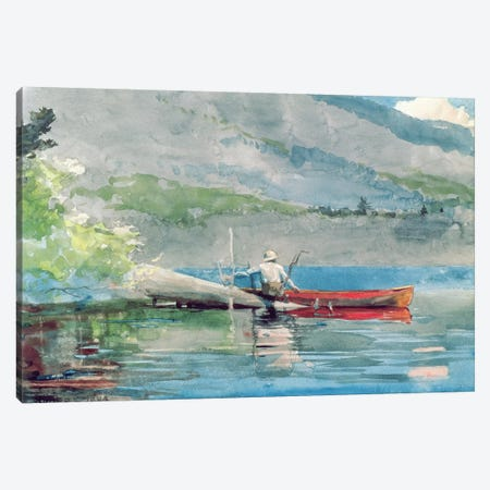 The Red Canoe, 1884  Canvas Print #BMN4771} by Winslow Homer Canvas Artwork