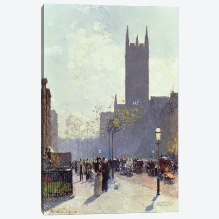 Lower Fifth Avenue, 1890  3-Piece Canvas #BMN4776} by Childe Hassam Art Print