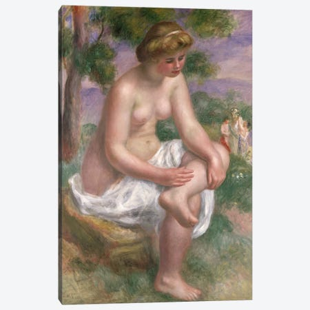 Seated Bather in a Landscape or, Eurydice, 1895-1900  Canvas Print #BMN477} by Pierre-Auguste Renoir Canvas Artwork